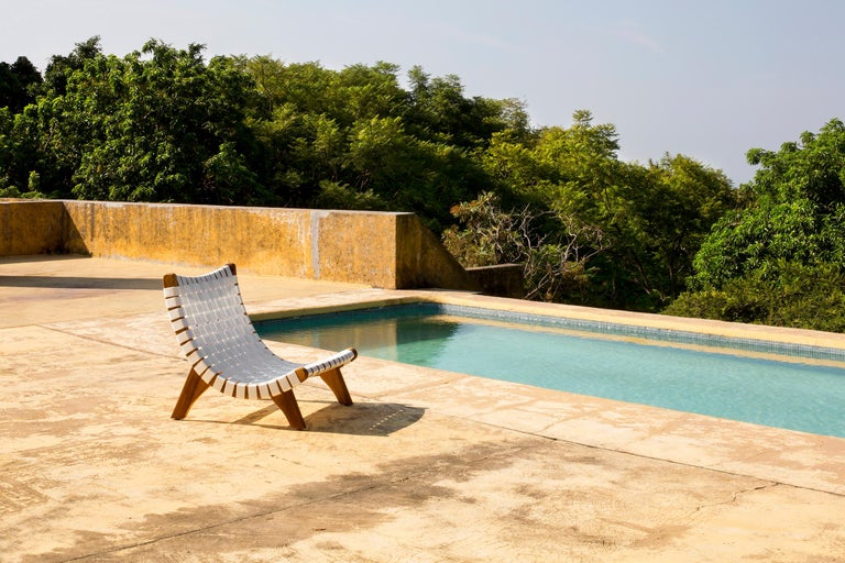 Contemporary Indoor-Outdoor mid century Mexican Lounge Chair in Teak by LUTECA, In-Stock Now For Sale