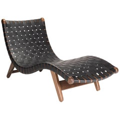 Michael van Beuren Midcentury Alacran Chaise in Walnut and Leather
