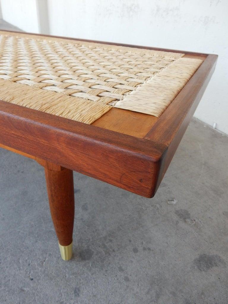 Michael van Beuren Woven Rattan Top Coffee Table In Good Condition For Sale In Las Vegas, NV