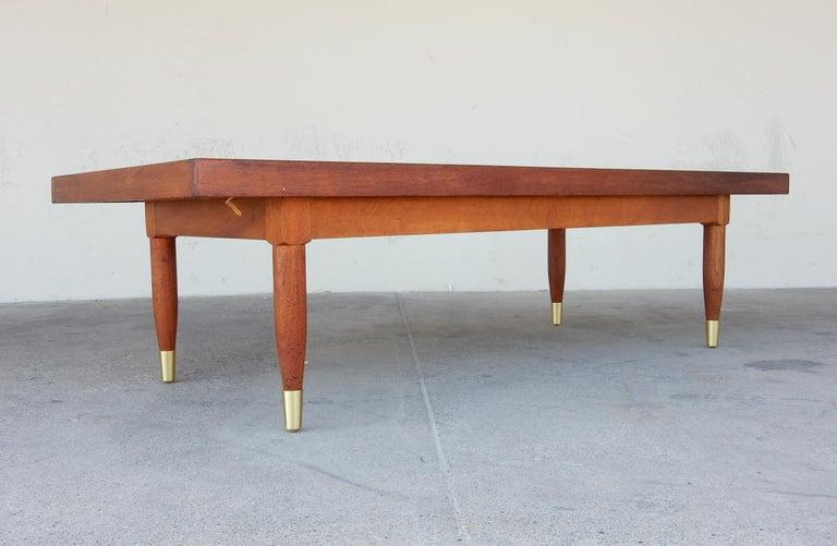 20th Century Michael van Beuren Woven Rattan Top Coffee Table For Sale
