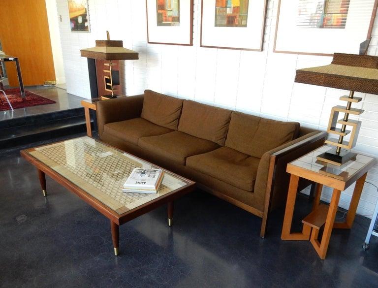 Rope Michael van Beuren Woven Rattan Top Coffee Table For Sale