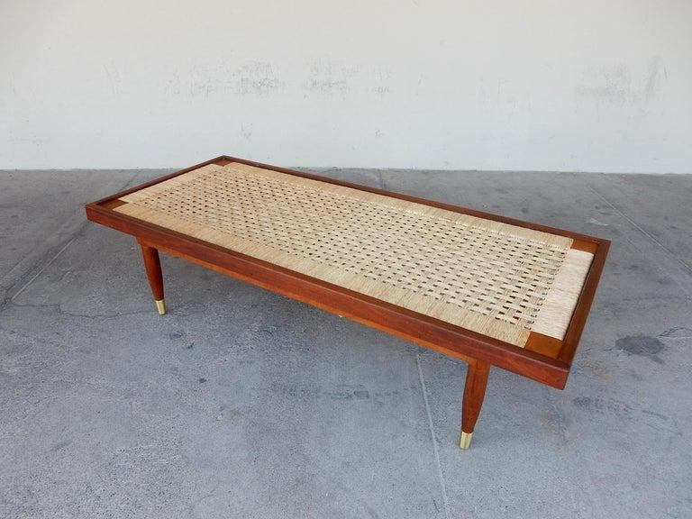 Michael van Beuren Woven Rattan Top Coffee Table For Sale 1