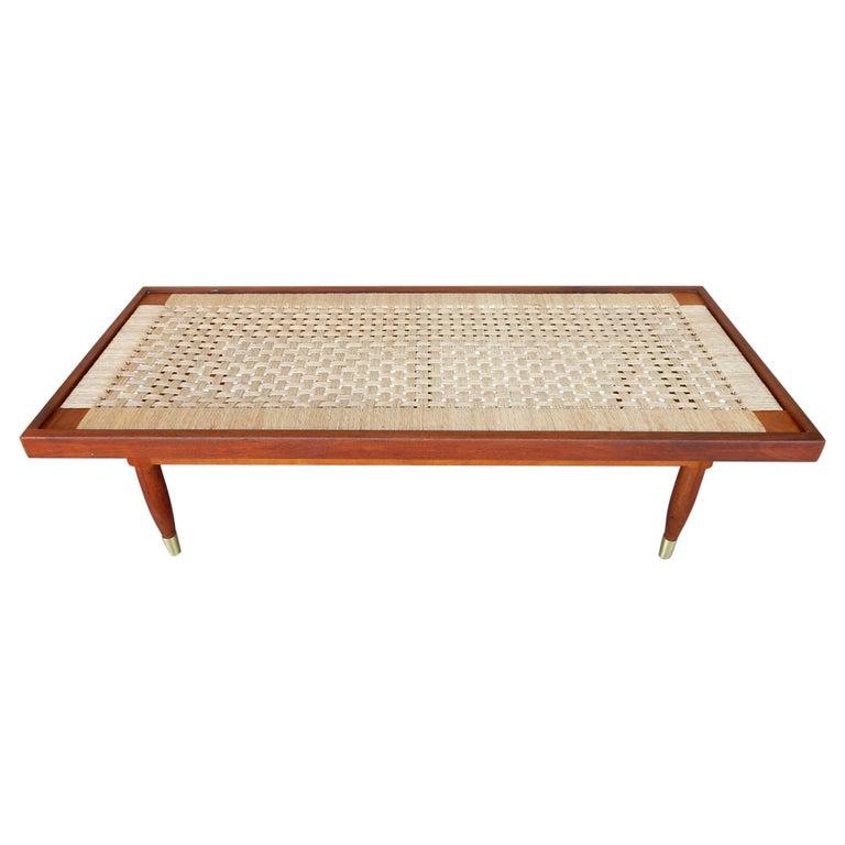 Michael van Beuren Woven Rattan Top Coffee Table For Sale