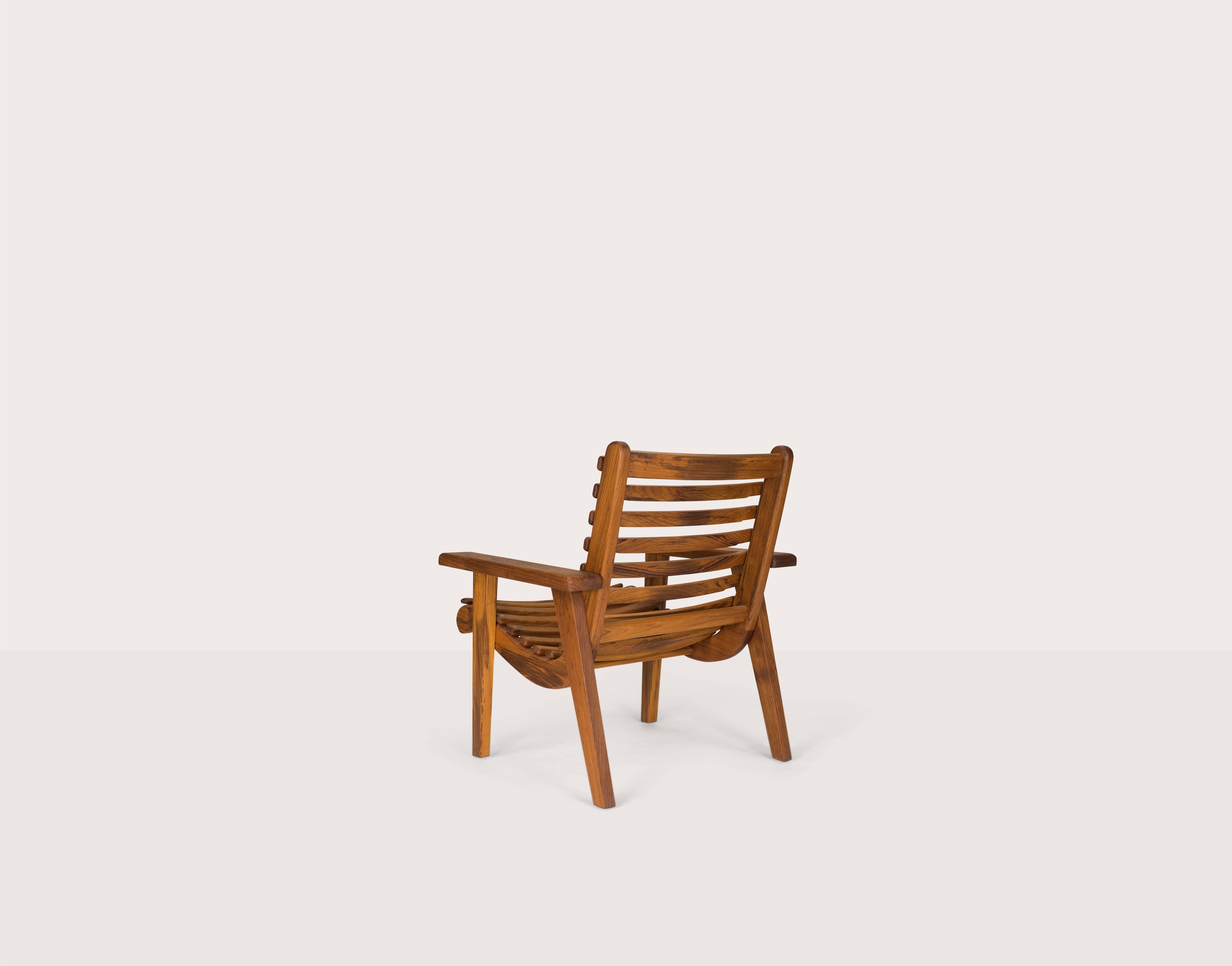 Michael Van Beuren Modernist Armchair in Teak for IndoorOutdoor