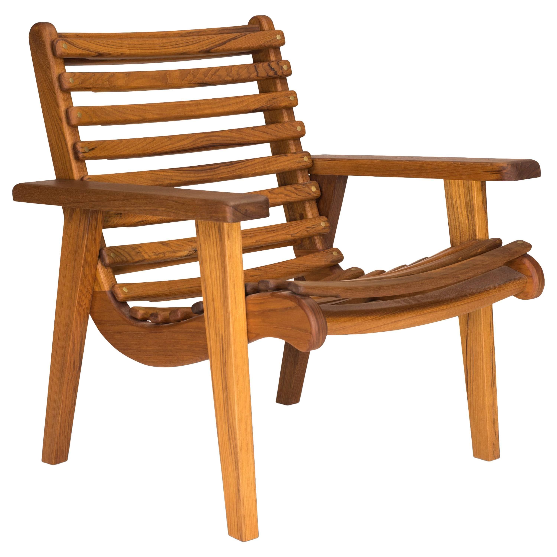 Modernist Bauhaus Armchair by Michael Van Beuren in Teak for Outdoor by LUTECA