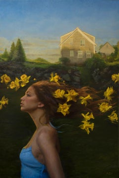 Headwind - Original Oil Painting of Female Figure and Floating Daffodil Flowers