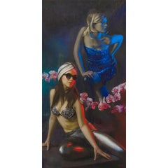 Orchid Electra - Original Oil Painting of Two Women in Lush Blue and Red Light