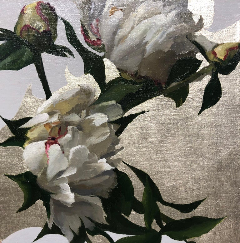 Peonies in White Light, Oil Painting with 12K White Gold Leaf, Blond Female - Brown Portrait Painting by Michael Van Zeyl