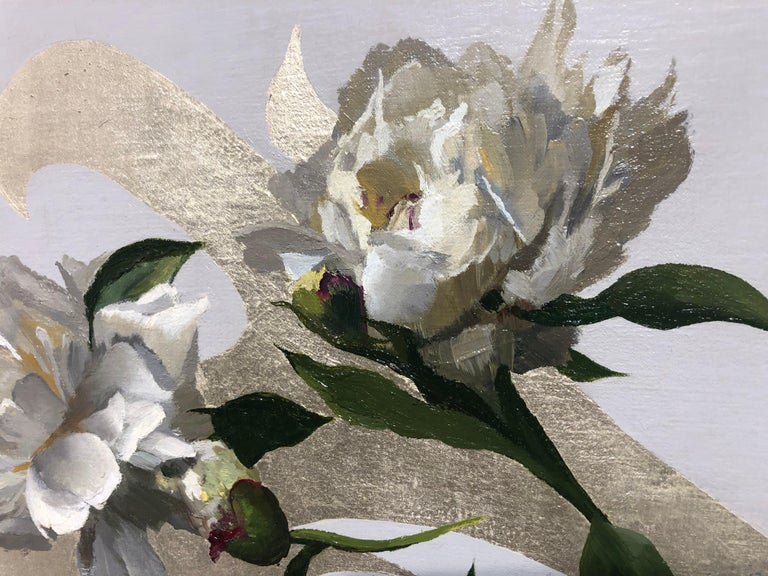 Peonies in White Light, Oil Painting with 12K White Gold Leaf, Blond Female For Sale 1