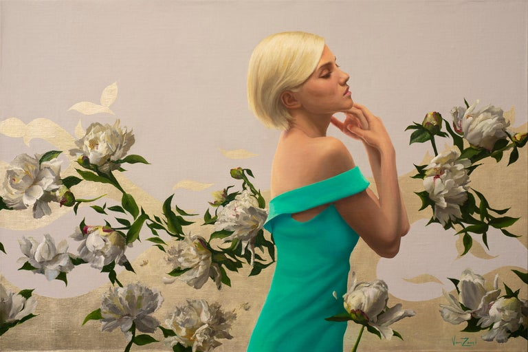 Michael Van Zeyl Portrait Painting - Peonies in White Light, Oil Painting with 12K White Gold Leaf, Blond Female