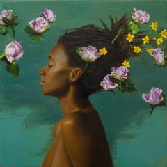 Silverstone Yellow Jasmine - Original Oil Painting of Woman and Floating Flowers