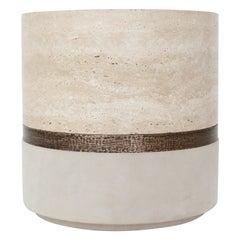 Michael Verheyden Beige Travertine Marble Bronze Detailed and Suede Dure Pot