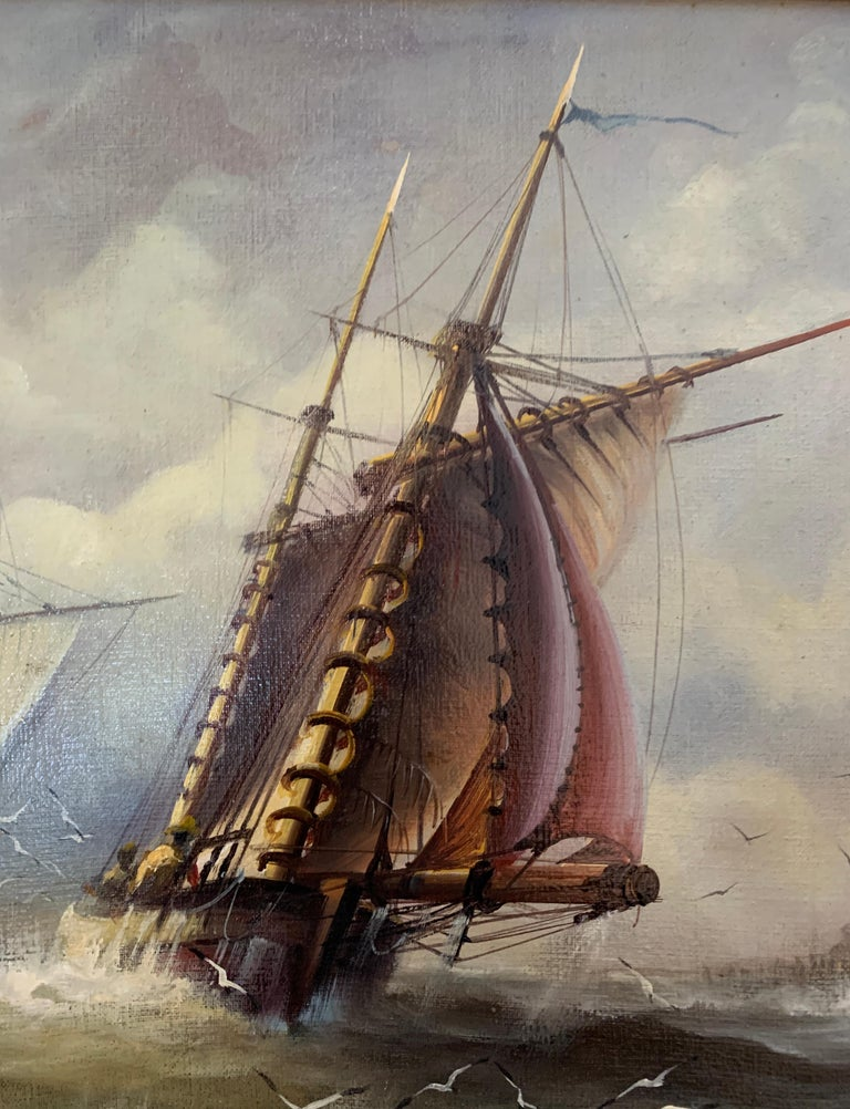 English 19th century style fishing boats off of the English coast. - Realist Painting by Michael Whitehand