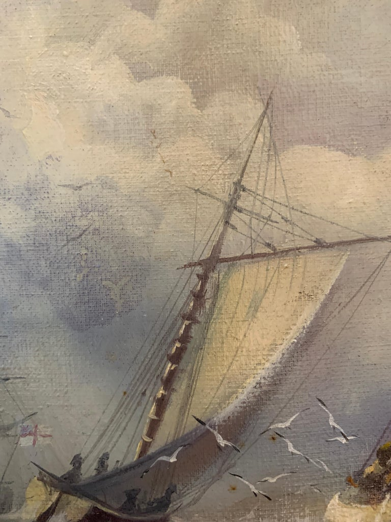 MICHAEL J. WHITEHAND, who was born in Bridlington, East Yorkshire in 1941, is a self-taught marine artist. He specializes in oil paintings of marine scenes and currently works out of a studio in Cornwall.   He is very prolific and his painting