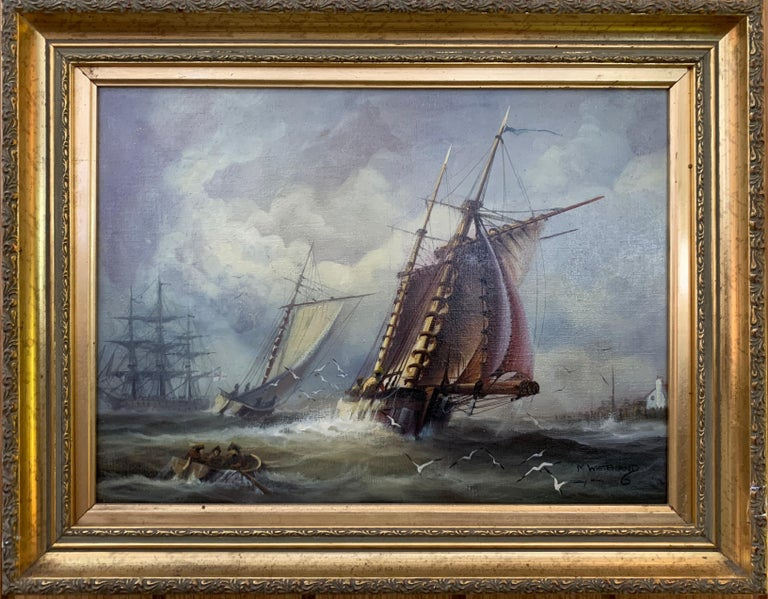Michael Whitehand Landscape Painting - English 19th century style fishing boats off of the English coast.