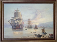 English painting of a 19th century style marine setting with war ships at rest