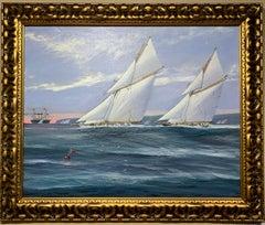 King George 5th watching a yacht race in England on HMS Britannia, circa 1920