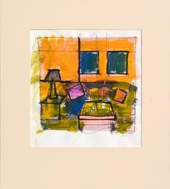 Cubist Living Room Interior Scene
