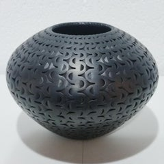 Black Buckle Vessel - contemporary modern abstract geometric ceramic vase vessel