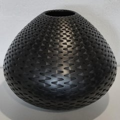 Black Hinge Vessel - contemporary modern abstract geometric ceramic vase vessel