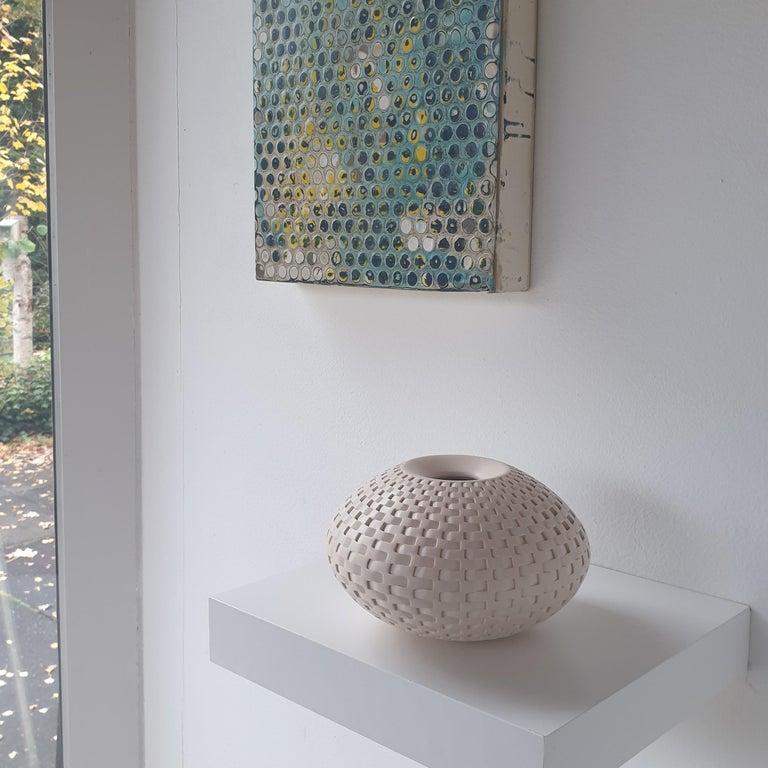 Rattan Vessel - contemporary modern abstract geometric ceramic vase vessel - Contemporary Art by Michael Wisner