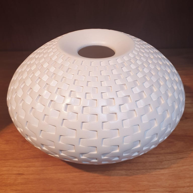 Rattan Vessel - contemporary modern abstract geometric ceramic vase vessel - Art by Michael Wisner