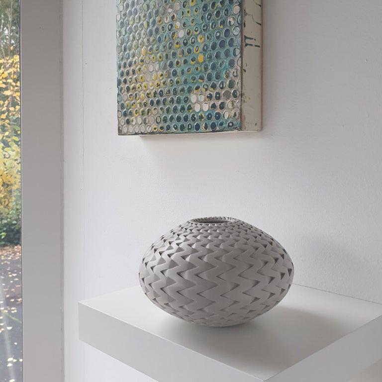 Zigzag Vessel - contemporary modern abstract geometric ceramic vase vessel - Contemporary Art by Michael Wisner