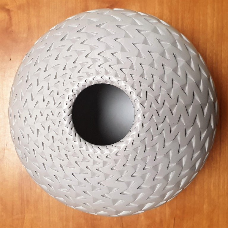 Zigzag Vessel - contemporary modern abstract geometric ceramic vase vessel For Sale 1