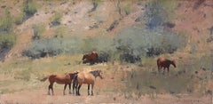 Four Summer Horses, Oil Painting