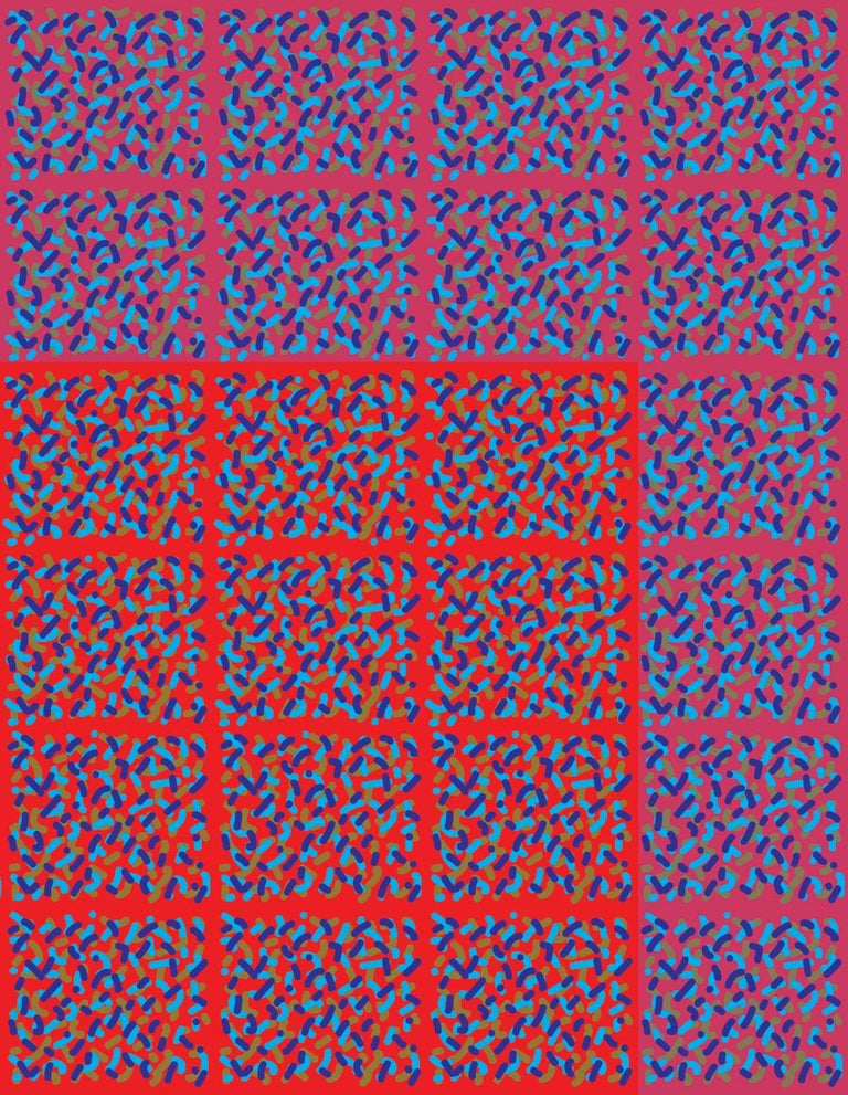 Conceptual digital print by Michael Zenreich entitled 'Confetti Red Square V2' depicting a red square within a field comprised of multi-color confetti-like shapes made in 2019. The dimensions listed are for the unframed work printed on Hahnemuhle