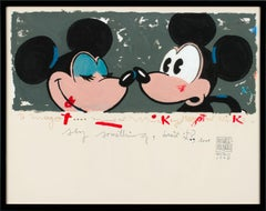 """""""Minnie and Mickey"""" Abstract Mixed Media on Paper by Michaele Vollbracht, Framed"""