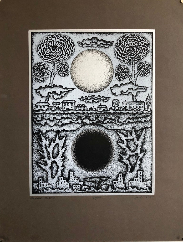 Large Post Soviet Non Conformist Russian Israeli Foil Silkscreen Print - Beige Abstract Print by Michail Grobman