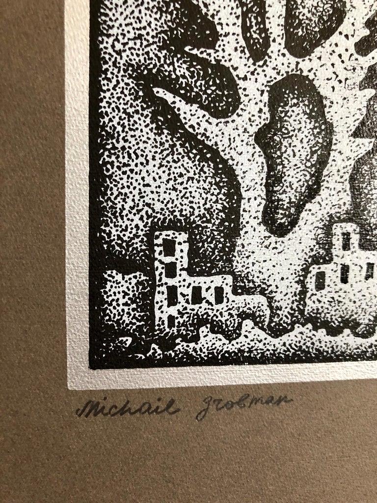 Large Post Soviet Non Conformist Russian Israeli Foil Silkscreen Print For Sale 3