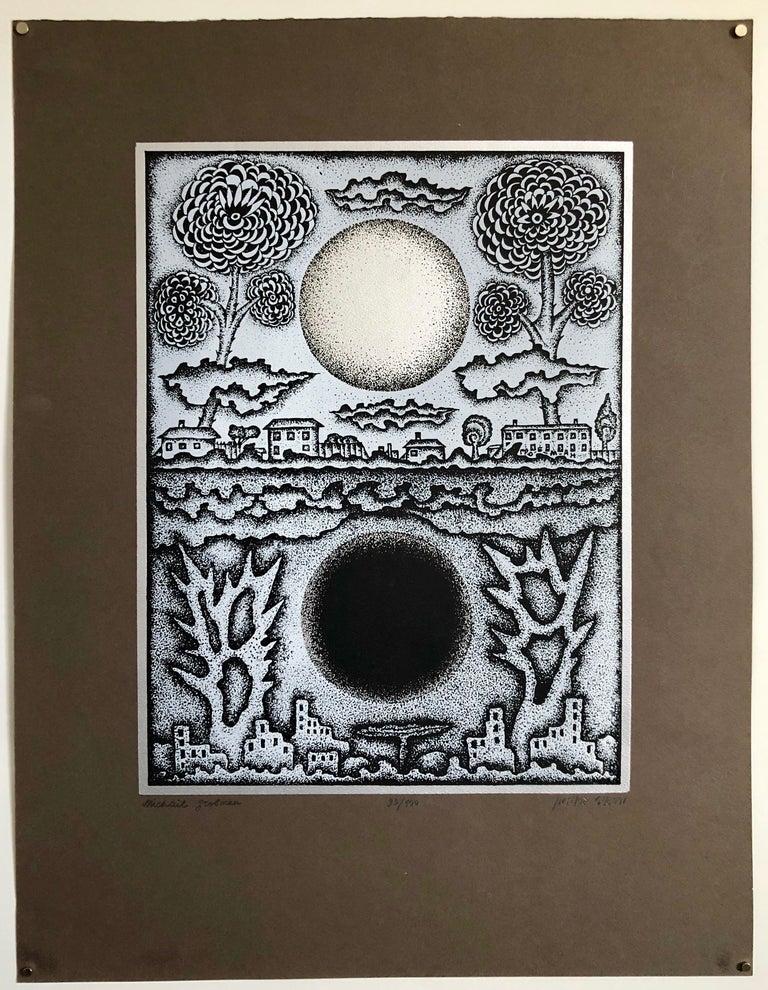 Large Post Soviet Non Conformist Russian Israeli Foil Silkscreen Print For Sale 5