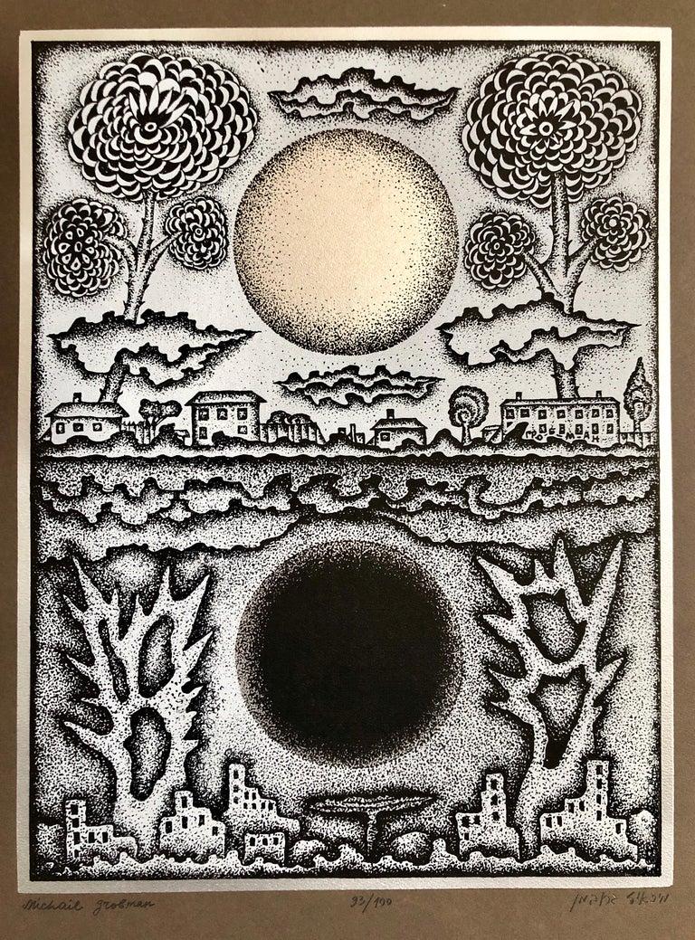 Michail Grobman Abstract Print - Large Post Soviet Non Conformist Russian Israeli Foil Silkscreen Print