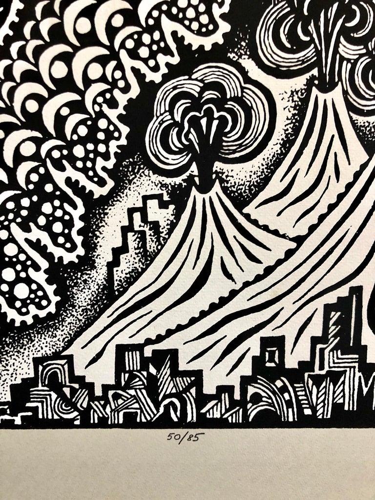 Large Post Soviet Non Conformist Russian Israeli Volcano Lithograph Silkscreen - Modern Print by Michail Grobman