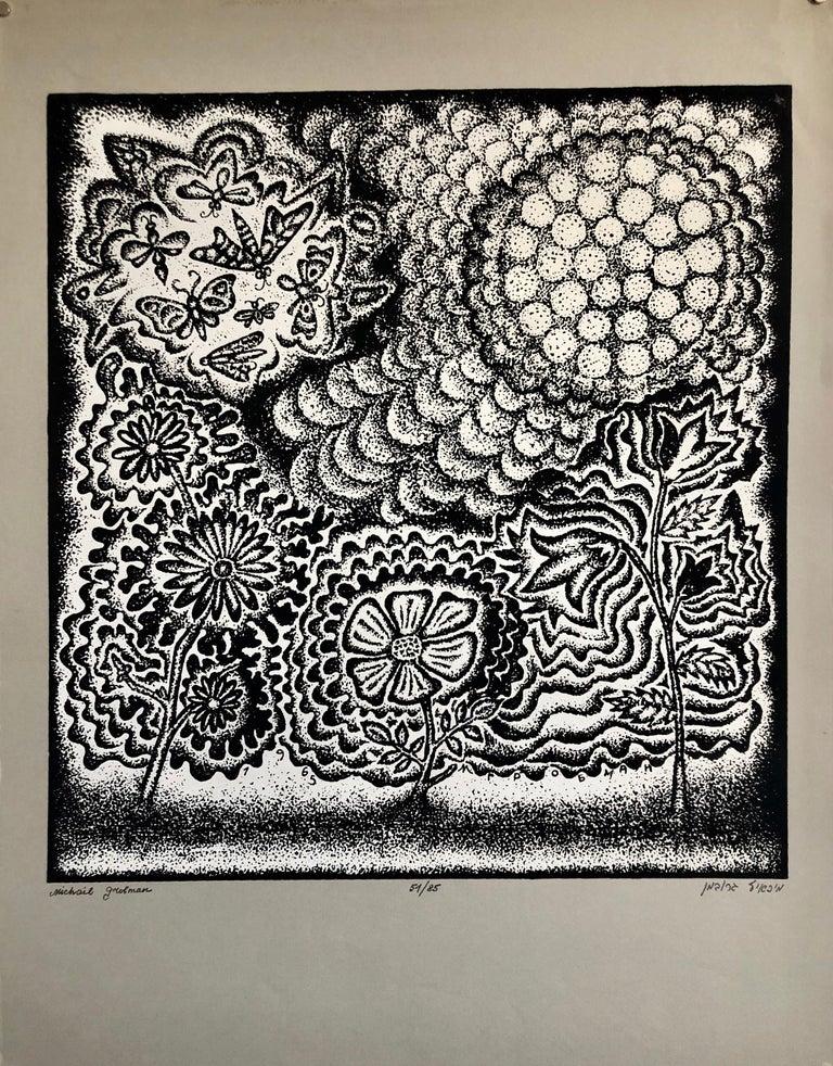 Michail Grobman Animal Print - Large Post Soviet Non Conformist Russian Israeli Volcano Lithograph Silkscreen