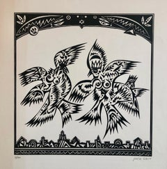 Post Soviet Nonconformist Avant Garde Russian Israeli Woodcut Woodblock Print