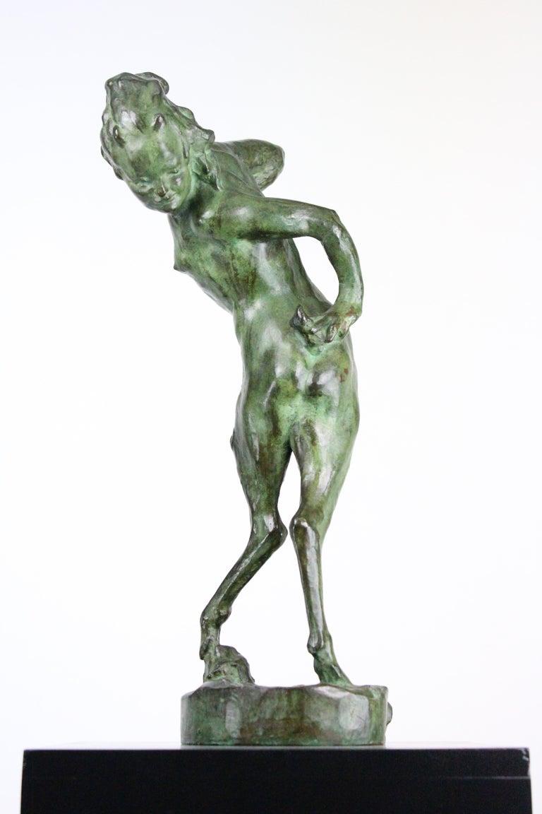 Patinated Michail Jacob Katz 1889-1964 Russian/Swedish Bronze Sculpture of Faun, 1928 For Sale