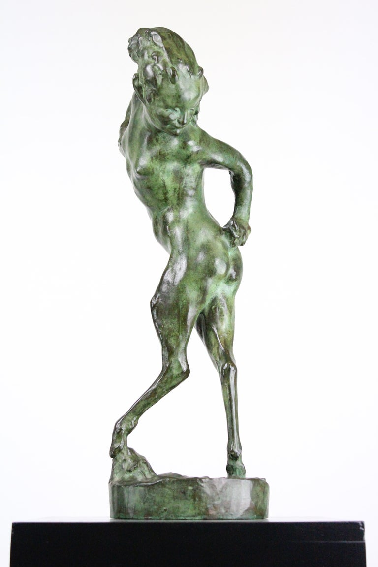 Michail Jacob Katz 1889-1964 Russian/Swedish Bronze Sculpture of Faun, 1928 In Good Condition For Sale In Skanninge, SE