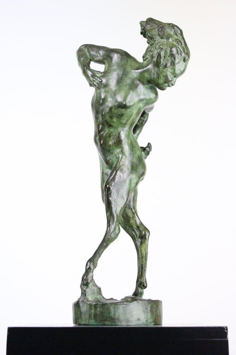 Early 20th Century Michail Jacob Katz 1889-1964 Russian/Swedish Bronze Sculpture of Faun, 1928 For Sale