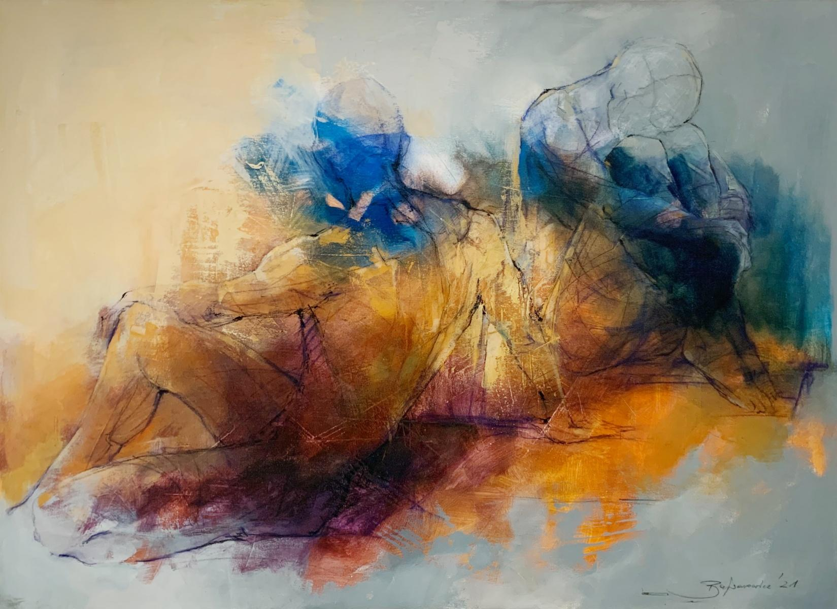 A couple - 21st Century, Contemporary Figurative Oil Painting, Abstraction