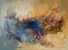 A silence - 21st Century, Contemporary Figurative Oil Painting, Abstraction