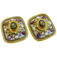 Michal Golan 18 Karat Gold-Plated Gem Stone Clip on Earring