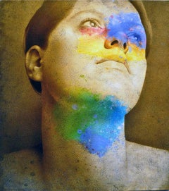 Faraway - contemporary realist woman colourful portrait face acrylic