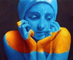 Repose III - contemporary portrait realistic oil painting blue yellow