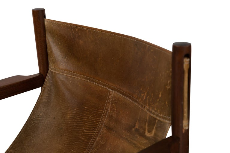 Michel Arnoult Patinated Leather Sling Chairs 1