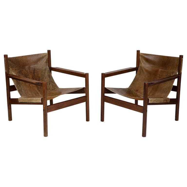 Michel Arnoult Patinated Leather Sling Chairs