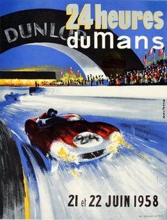 Original Vintage Motor Sport Poster 24 Heures Du Mans Endurance Car Race Le Mans