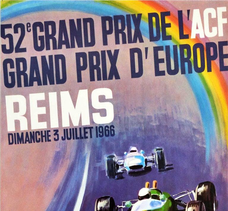 Original Vintage Motorsport Poster Grand Prix D'Europe Formula One Auto Racing - Print by Michel Beligond